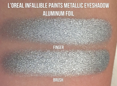 L'oreal Infallible Paints Metallic Eyeshadow in Aluminum Foil Swatches